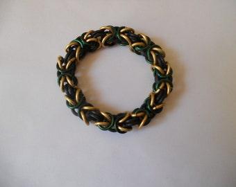 "Green and Gold ""Loki"" Byzantine Chainmail Bracelet"