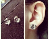 CUSTOM ORDER // RESERVED: Silver Pansy Earrings and Esther Silver Cameo Earrings