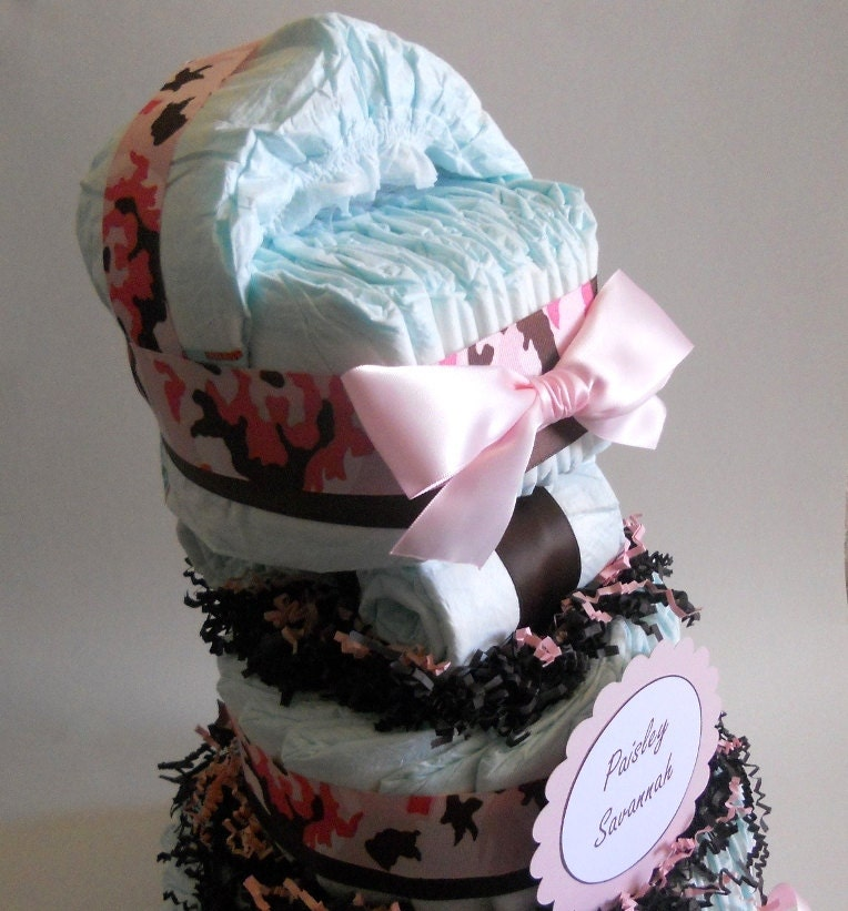 Pink Camo Diaper Cake Three Tier With Carriage Tier