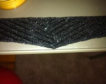 Black Belt Beaded Magid Belt Glam Glam Glam Glitzy Vintage Belt Wrap Bowie Lovers Vintage