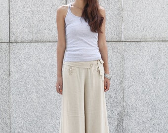 Graceful Casual Beige Wide leg Long Linen Pants - NC004