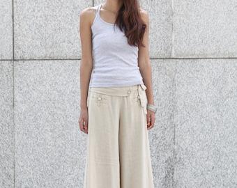 Graceful Casual Beige Wide leg Long Linen Pants - NC004