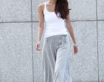 Graceful Casual Wide leg Long Linen Pants in Light Blue - NC004
