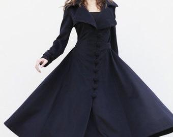 Navy Blue Coat Big Sweep Women Wool Winter Coat Long Jacket Tunic / Fast Shipping - NC222