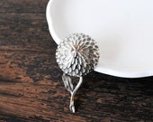 Vintage Silver Pin Signed BSK Brooch, 3D Chrysanthemum Flower, Large Designer Jewelry
