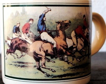 Vintage Mens Polo Player Ceramic Mug Cup, Equestrian Scene Collectible Pencil Holder