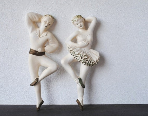 Vintage Chalkware Plaque Ballerina Ballet Dancers, Eames Gold & White Decorative Arts Wall Pair