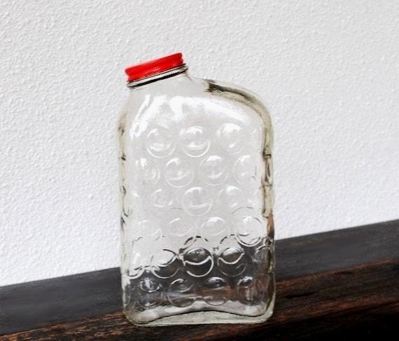 Vintage Glass Refrigerator Bottle, Retro Ribbed Circles, 1950s Anchor Hocking Milk Water Juice