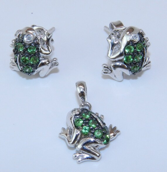 REDUCED Diamond and Green Sapphire FROG Earrings Pendant Set 14K White Gold