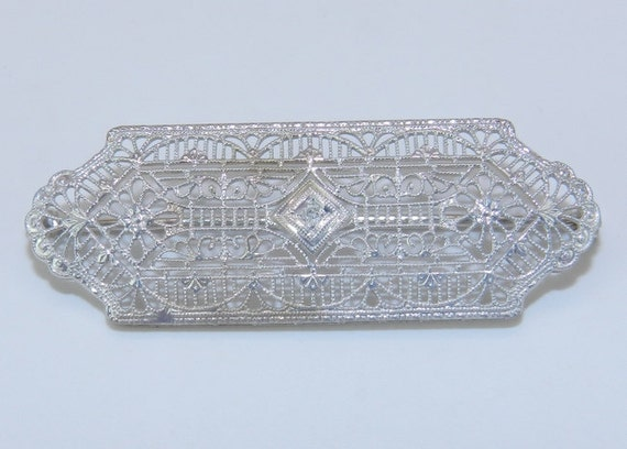 Art Deco Antique Filigree White Gold Filigree Diamond Brooch Pin Circa 1920's