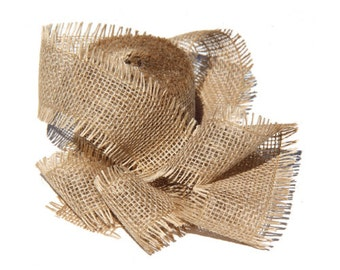"2.5"" Burlap Jute Ribbon for Gift Wrapping Ideas and Christmas Decorations"