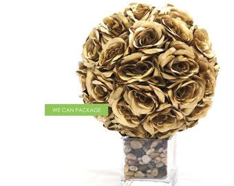 Silk Rose Wedding Flowers for DIY Kissing Pomander Balls Styrofoam Kit