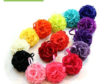 "4.5"" Silk Rose Kissing Pomander Balls for Wedding Reception Decor and Party Decorations"