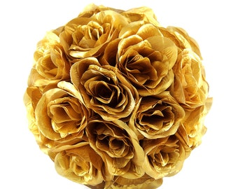 "SALE: 12"" Gold Silk Rose Kissing Balls Pomanders for Wedding Centerpieces Decor and Party Decorations"