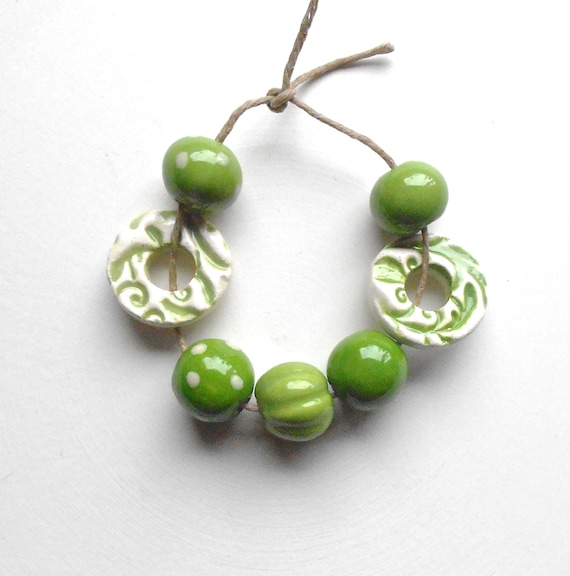 Handmade Ceramic  Bead Set with Donuts in Pea Greens