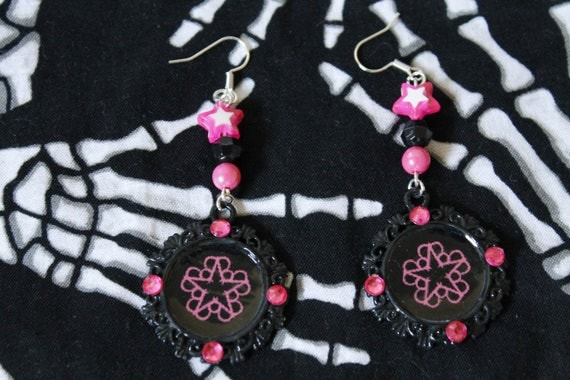 black veil brides pink earrings by hellcatboutique on