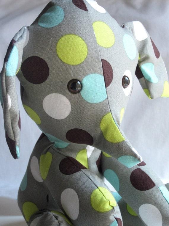 Items Similar To Stuffed Elephant Aqua Gray Lime Plush