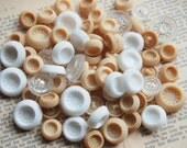 Vintage Glass Buttons , lot of 50 Glass Buttons/ White- Creme-Clear