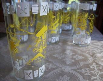 Vintage Hazel Atlas Yellow Pirate Glassware Set of 9 (Price Reduced)