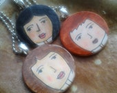 Mixed Media Girl on Wood Pendant with Necklace