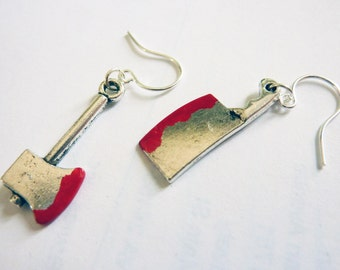 Ready to Ship - Bloody Axe and Cleaver Earrings in Slasher - Weirdly Cute Halloween Jewelry