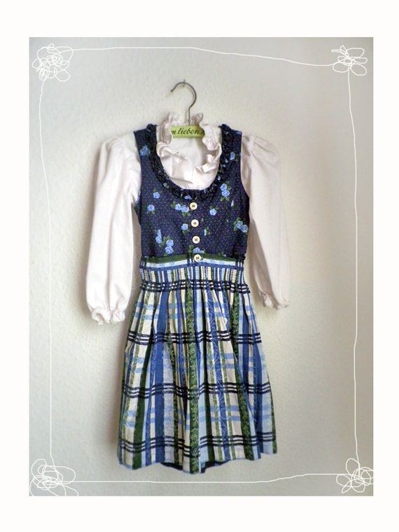 Girls DIRNDL Blue Checkered Flower print Full Dirndl Dress with apron and blouse German folk dress, Oktoberfest, traditional dress for kids