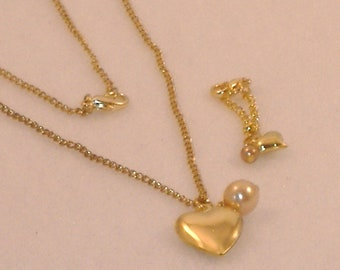 Barbie Hers & Hers Matching Necklace - Heart Charm and Cultured Pearl - Handmade