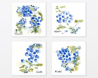 Blue Watercolor Print Set Botanical Garden 8x8 art for kitchen, express shipping