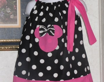 Custom made pillowcase dres minnie mouse black wite polka dots zebra pink  hot pink  hairbow 3mos,6mos,9mos,12mos,18mos,24mos,2t,3t,4t,5t,6