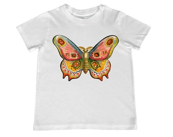 Colorful Victorian Moth - Eyeglasses Ad illustration on kids TShirt - t-shirt color choice, - youth sizes 2T-4T, xs, s, m, l, xl