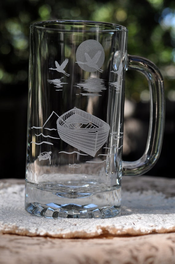 Fathers Day Fishing Gift - Engraved Beer Mug Boat with Cranes - Optional Personalization