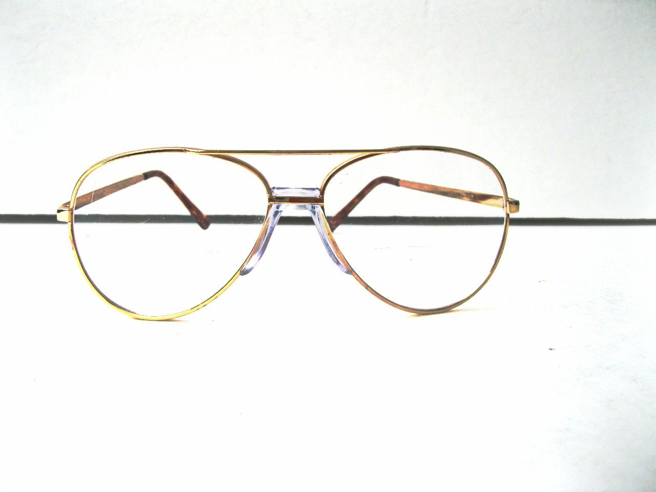 Gold Wire Glasses Frames : Vintage Aviator Eyeglasses Wire Rimmed Gold by ToddysTreasures