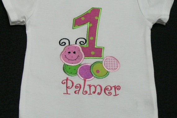Hungry Caterpillar Birthday Onesie or T-Shirt With Monogram Name (Made to Order)