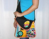 MEDIUM CANVAS BAG hip bag hobo tote -messenger- mixed fabrics in  Rainbow-Black  with Circle