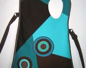 2in1 Medium Canvas Bag Crossbody Bag utility haversack mixed fabrics in Brown Turquoise with Circles