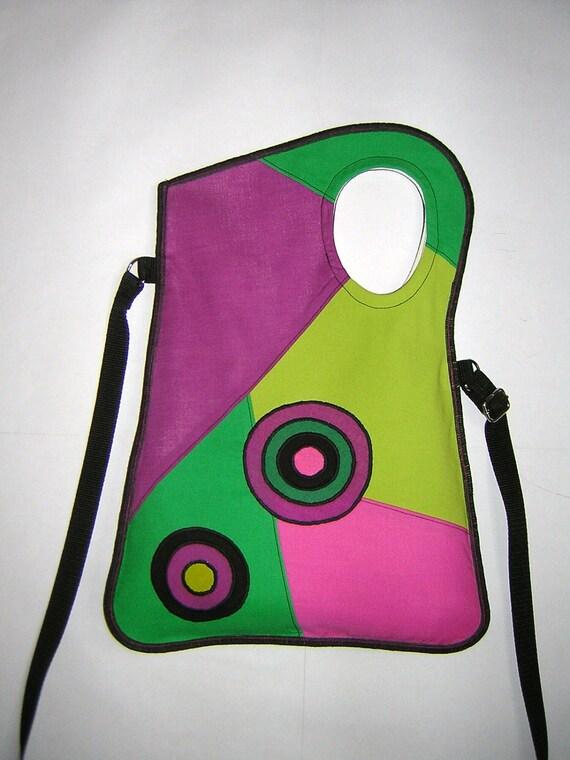 Cheerful MEDIUM CANVAS BAG geometrics crossbody purse Bohemian Haversack mixed fabrics Green bananas-Mallow- Pink-Green-Black  with circle