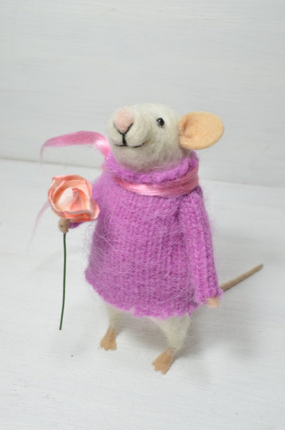 Cocket Little Mouse - unique - needle felted ornament animal, felting dreams made to order