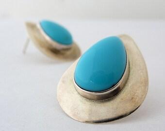 Vintage Sterling Turquoise Earrings, Modernist