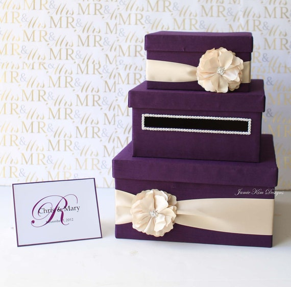 Wedding Gift Money Holder : Wedding Card/ Money Box Gift Card Holderchoose your box & flower ...