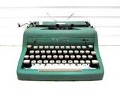 Vintage Typewriter Seafoam Green Royal Quiet DeLuxe Green Manual Typewriter