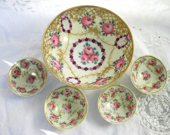 Antique Nippon Roses - Very Ornate - Finger Bowls & Berry Bowl  - Pink Rose - Raised Gold Dots