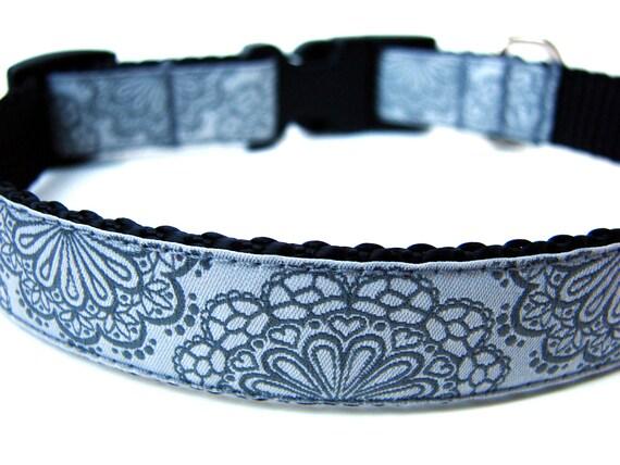 """Lace Dog Collar 3/4"""" Grey Dog Collar"""