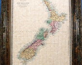Island of New Zealand Map Print of an 1875 Map on Parchment Paper