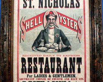 Restaurant Ad Art Print from 1873 on Parchment Paper