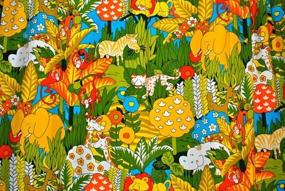 Curtains,  kids, childrens, nursery. Cheery safari print, animals, jungle, bright, set of 4 panels.
