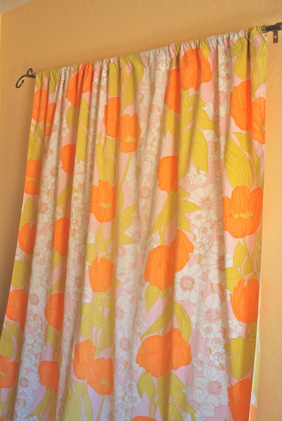 Poppy curtains, 2 extra long panels, orange, pink, avocado, upcycled one of a kind.