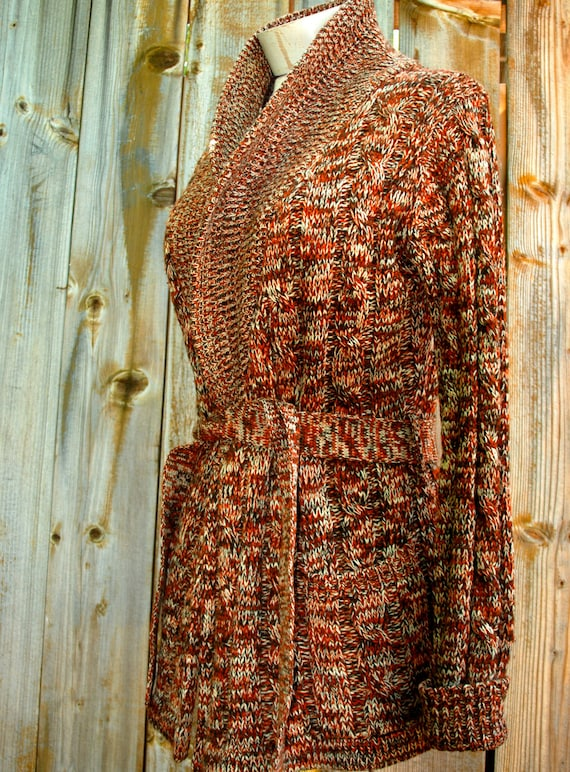Women's wrap sweater with belt, cable knit, speckled autumn colors, rust, beige, brown, size medium, 1960s