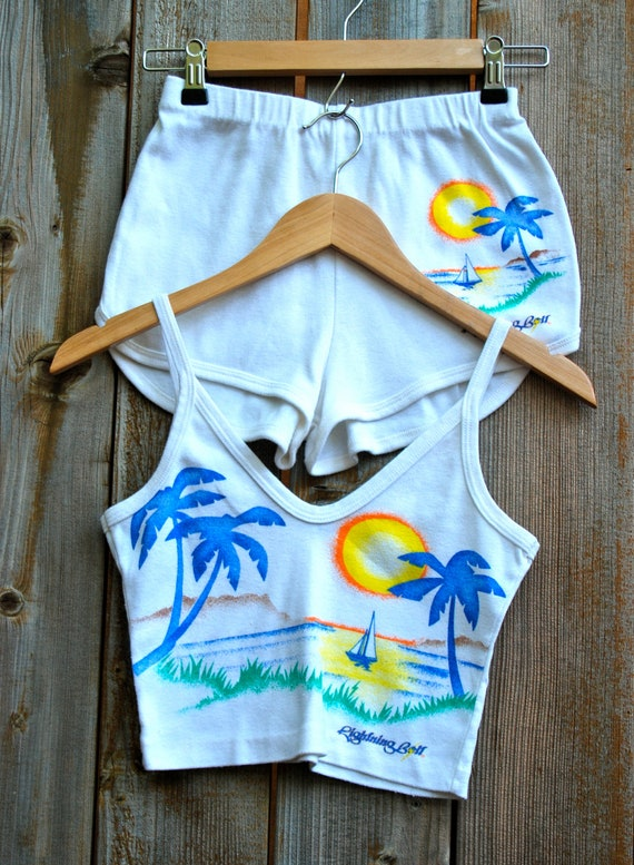 Reserved for Anneliese: Women's short and tank top set, jogging set, airbrushed beach scene, Lightening Bolt brand. 1970's, Three's Company.