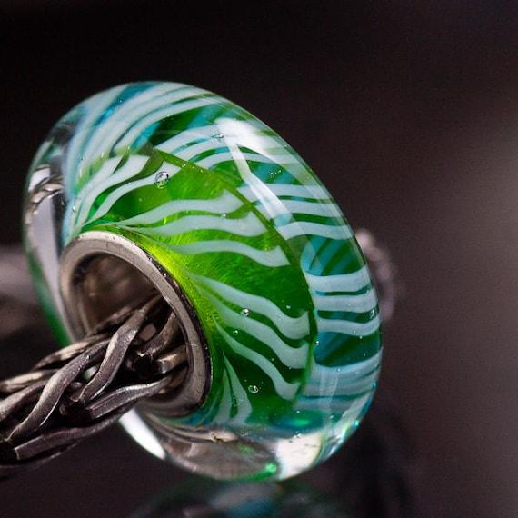 GlassBonBon DNA tiny SRA Lampwork European Charm Bead BHB silver core