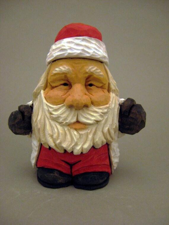 """Santa """"Hugs"""" wood carving"""